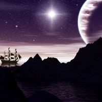 Digital Art - Landscapes - Ship in the Night
